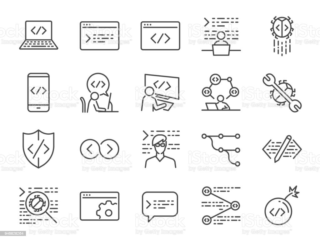 Developer Icon Set Included The Icons As Code Programmer