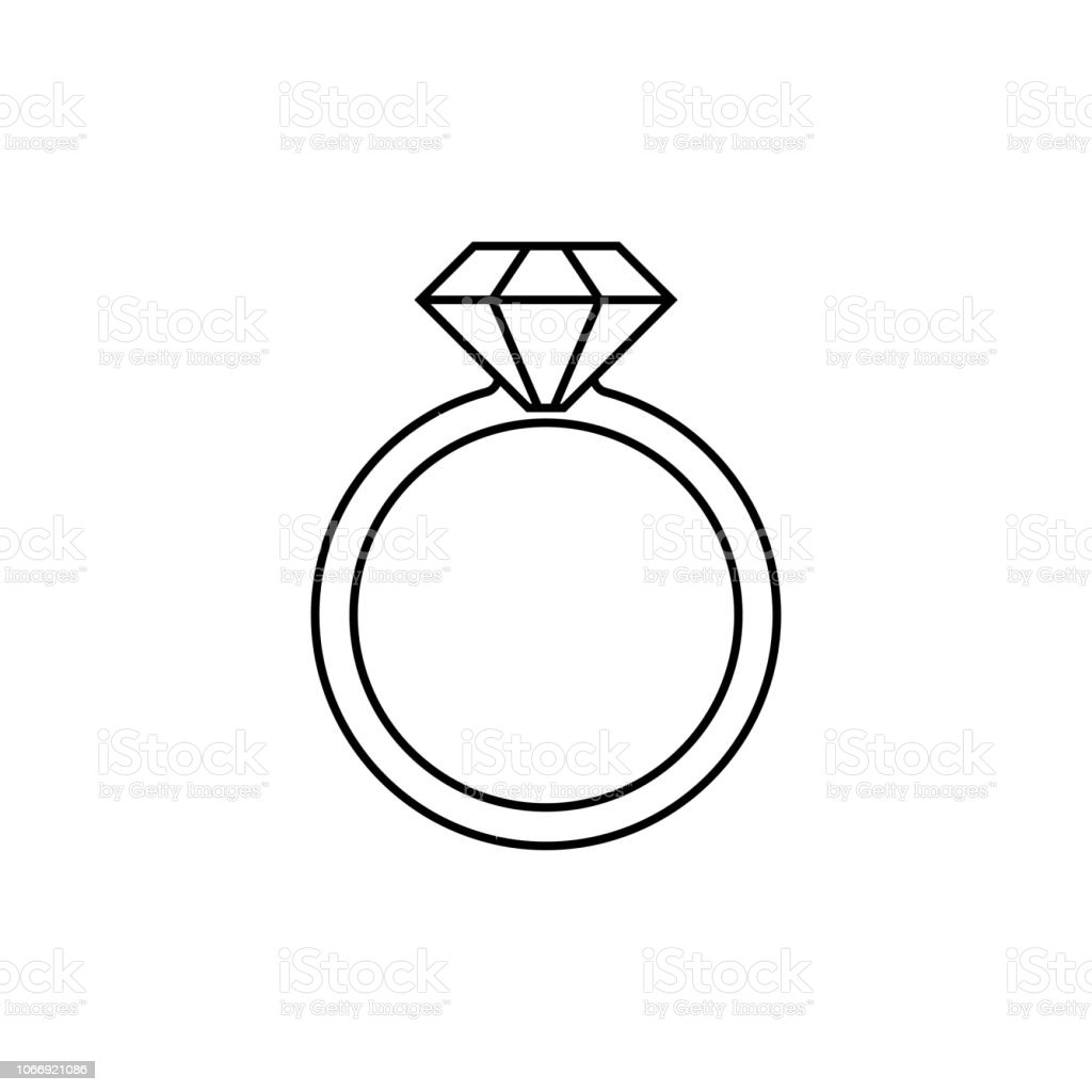 Diamond Ring Vector Sketch Icon Isolated On Background