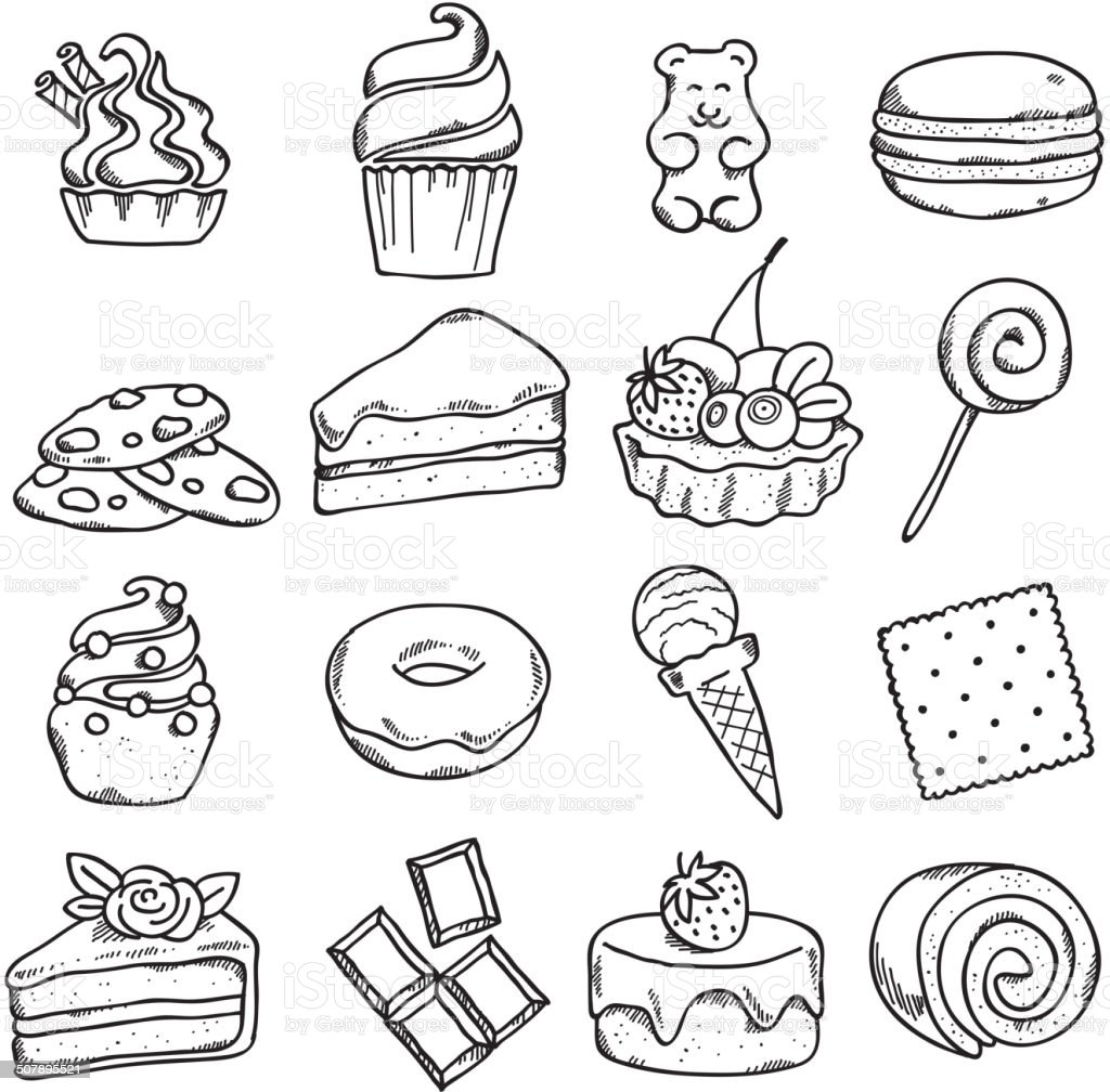 Different Black And White Sweets Icons Set In Sketch Style