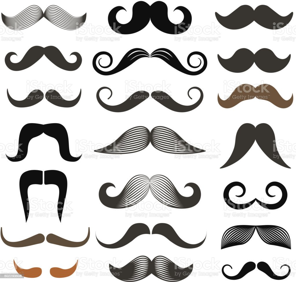 hight resolution of different retro style moustache clip art vector set isolated on white royalty free