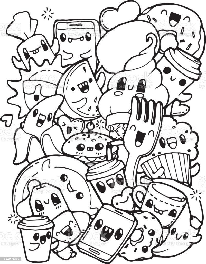 Breakfast Doodles : breakfast, doodles, Dining, Doodles, Breakfast, Lunch, Dinner, Coloring, Pages, Adult, Stress, Stock, Illustration, Download, Image, IStock