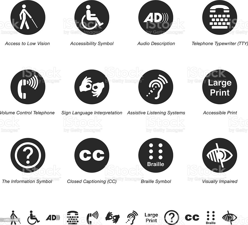 Disability Access Silhouette Icons Stock Vector Art & More