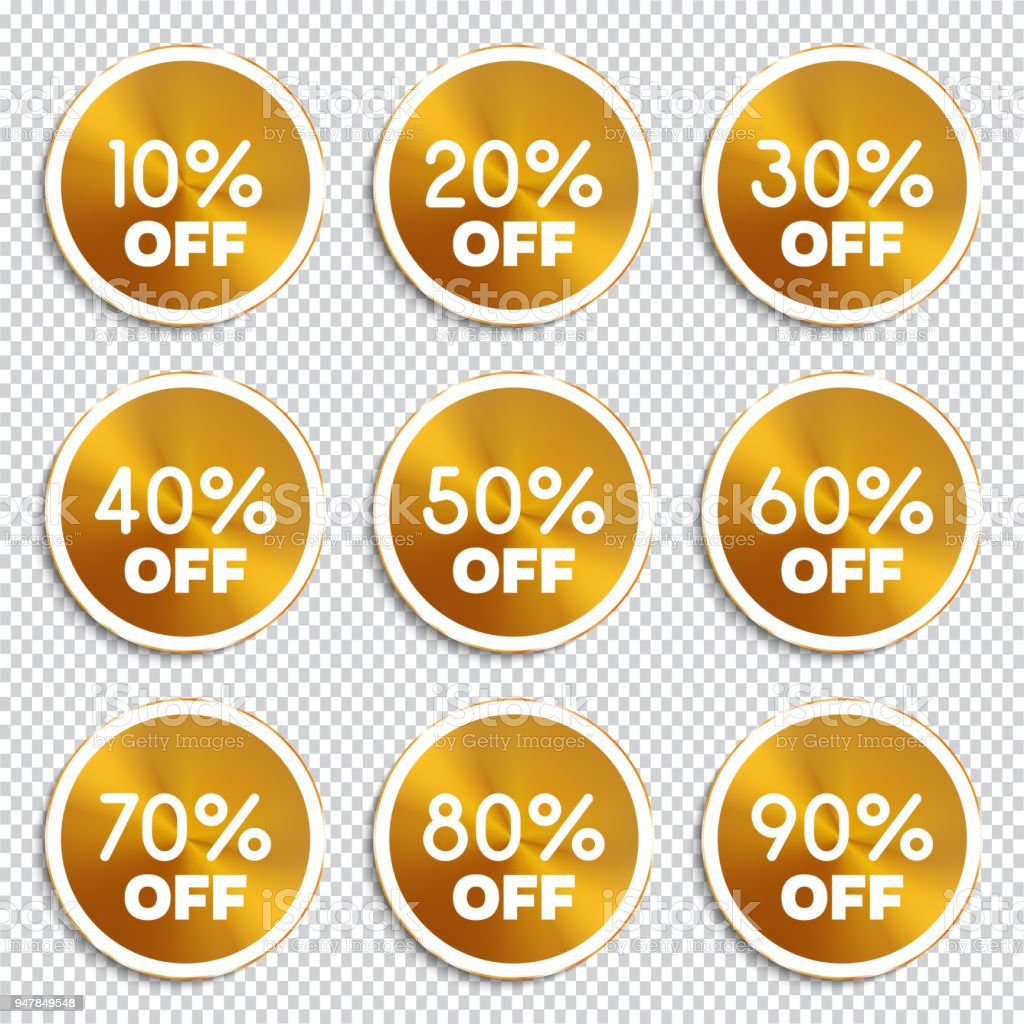 Discount Banners 10 20 30 40 50 60 70 80 90 Off Icons ...