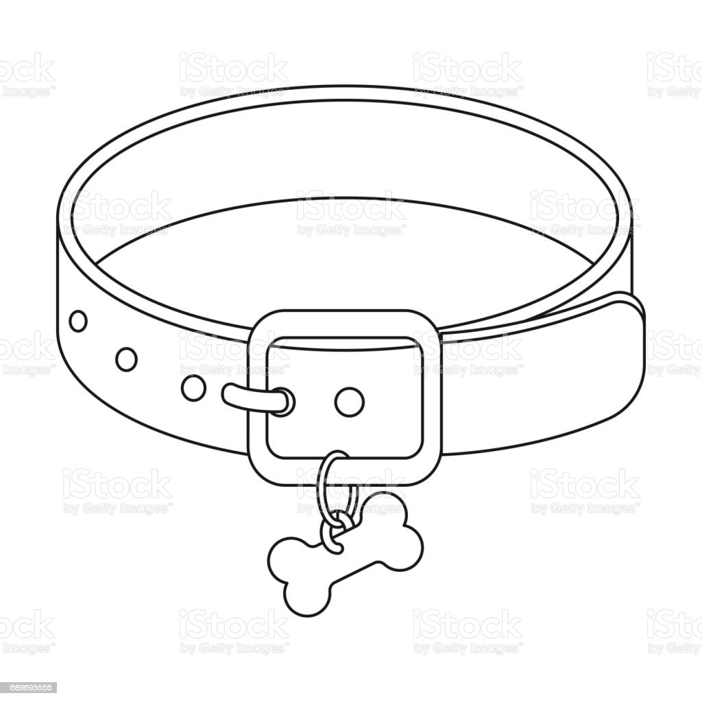 Dog Collar Icon In Outline Style Isolated On White