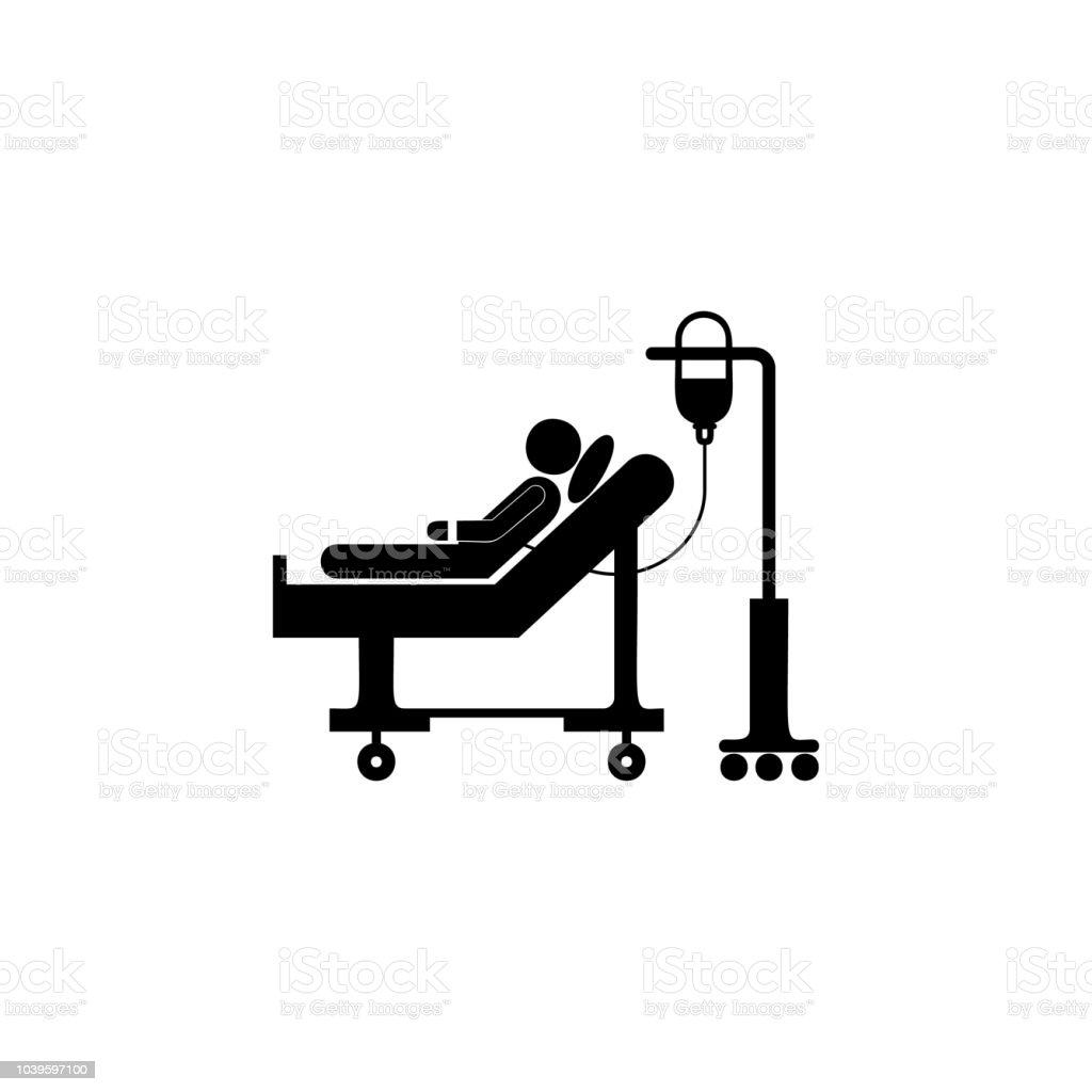 Donor Lies On A Gurney And Blood Transfusions Illustration