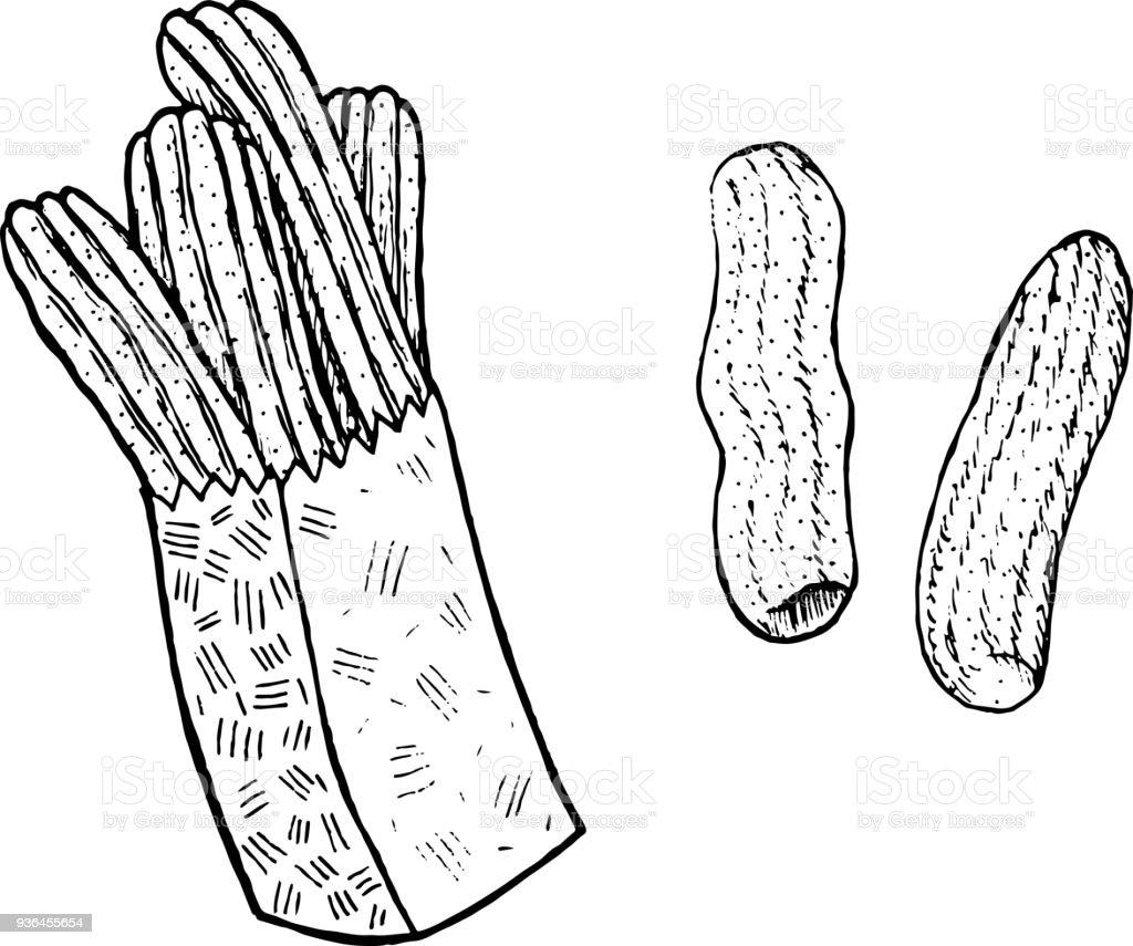 Doodle Coloriage Pour Adultes Avec Des Churros Art Dencre