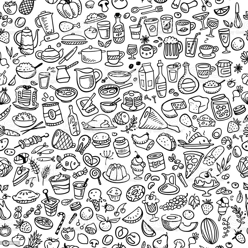 Cute Designs Printer Page Wallpapers Doodle Food Icons Stock Vector Art 510591034 Istock