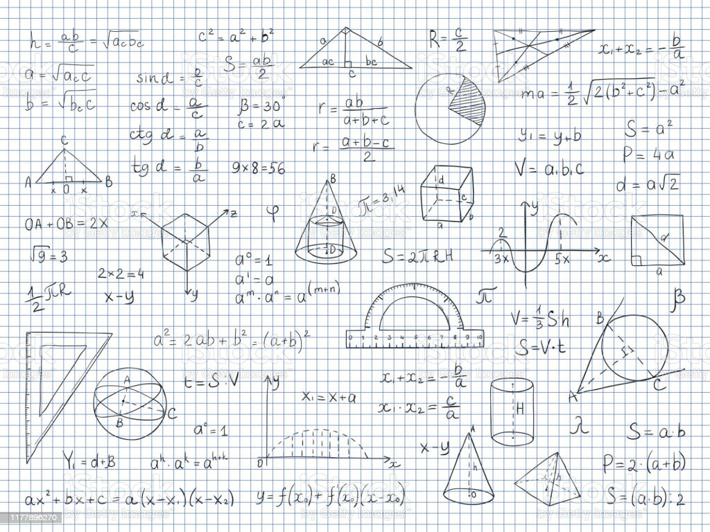 Doodle Math Physics And Geometry Formulas End Equations