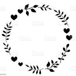 Doodle Monochrome Heart And Leaf Circle Frame On A Black Background Wreath Of Leaves Ready Template For Design Postcards Printing Stock Illustration Download Image Now iStock
