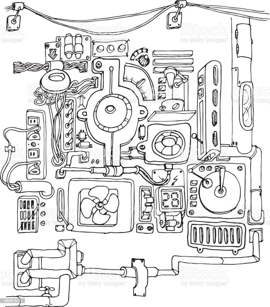 Doodles Machine Mechanic Handdrawn Contour On A White
