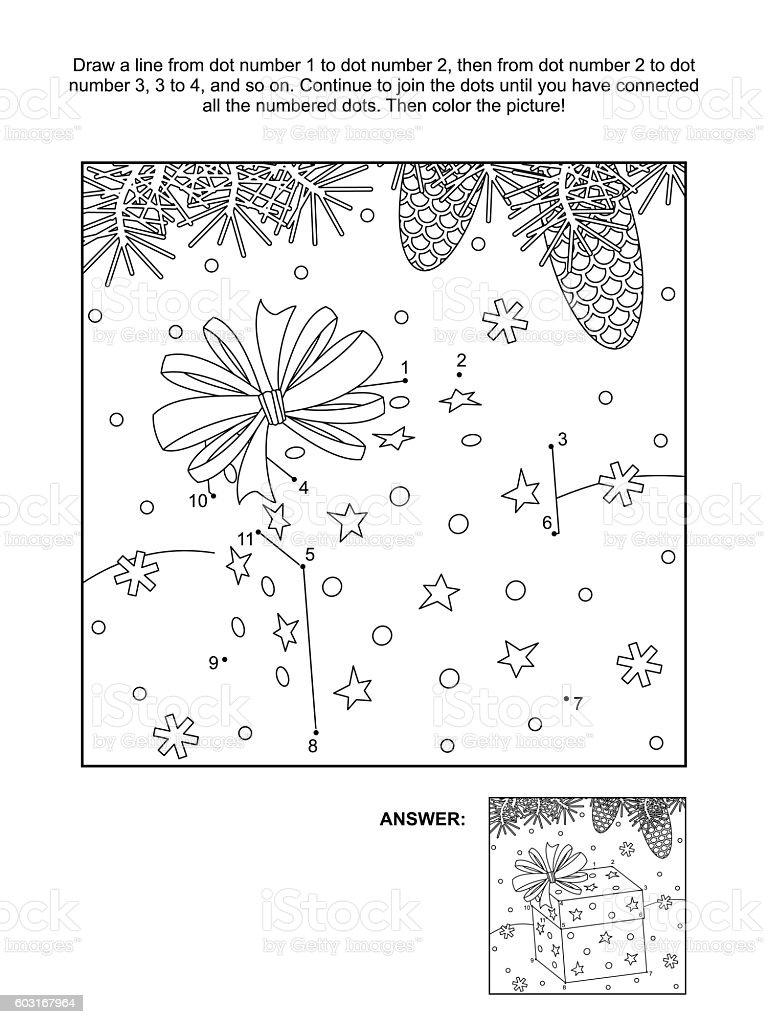 Dottodot And Coloring Page Christmas Gift Box Stock Vector Art