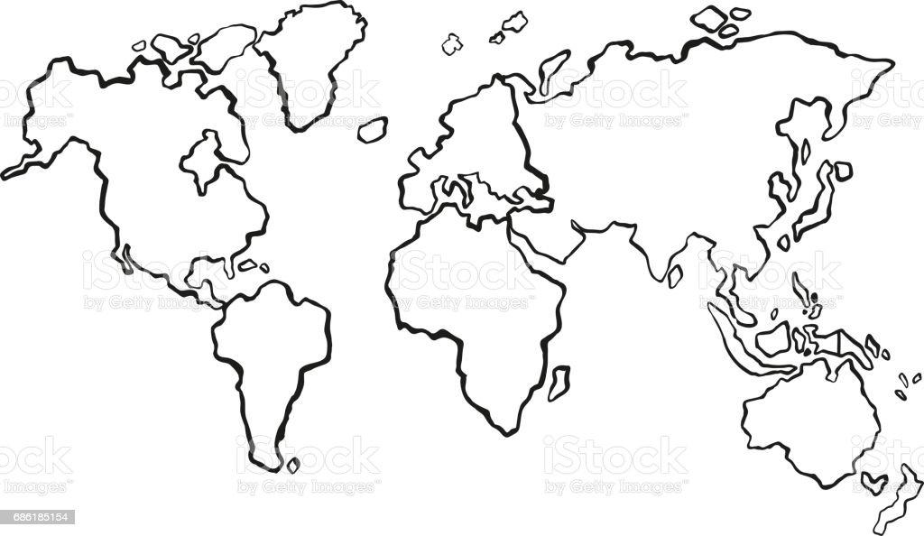Projet De Carte Du Monde Sans Couleur