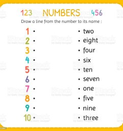 Draw A Line From The Number To Its Name Numbers For Kids Worksheet For  Kindergarten And Preschool Training To Write And Count Numbers Exercises  For Children Stock Illustration - Download Image Now - [ 1024 x 1024 Pixel ]