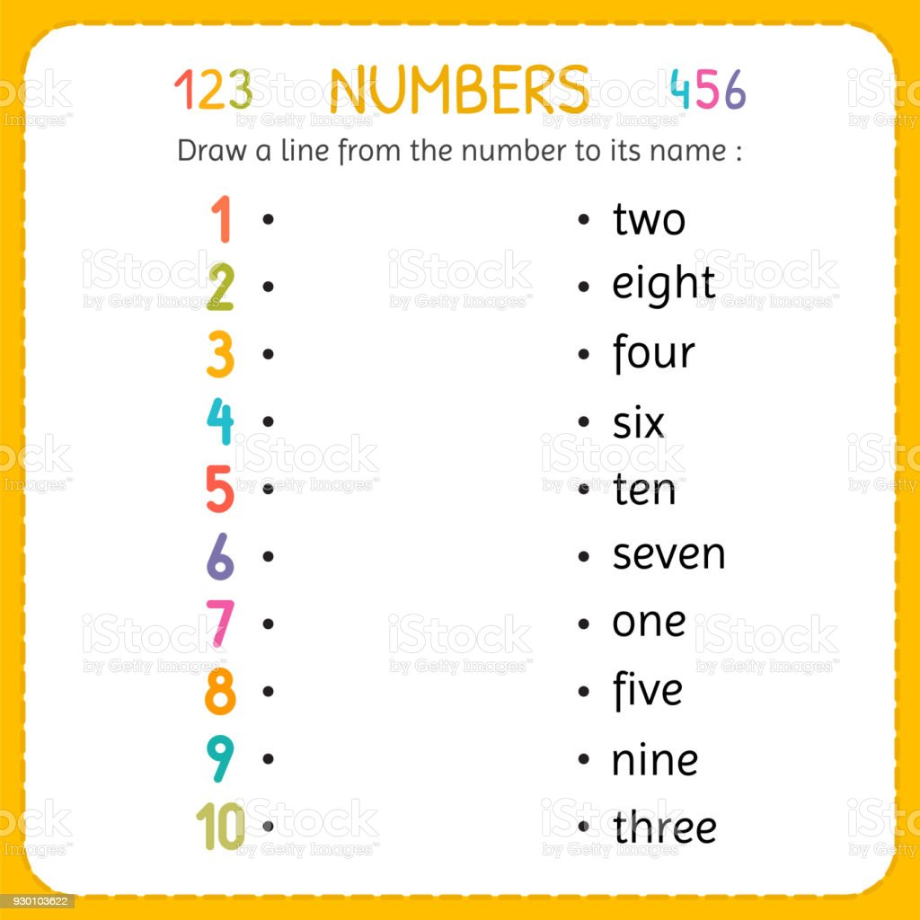 hight resolution of Draw A Line From The Number To Its Name Numbers For Kids Worksheet For  Kindergarten And Preschool Training To Write And Count Numbers Exercises  For Children Stock Illustration - Download Image Now -