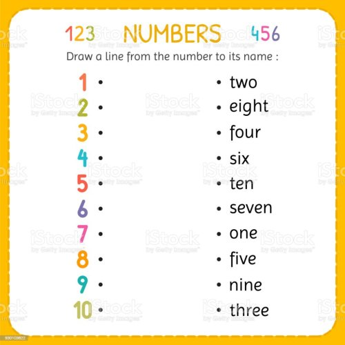 small resolution of Draw A Line From The Number To Its Name Numbers For Kids Worksheet For  Kindergarten And Preschool Training To Write And Count Numbers Exercises  For Children Stock Illustration - Download Image Now -