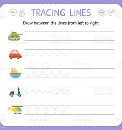 Draw Between The Lines From Left To Right Preschool Kindergarten Worksheet  For Practicing Motor Skills Basic Writing Stock Illustration - Download  Image Now - iStock [ 1024 x 1024 Pixel ]
