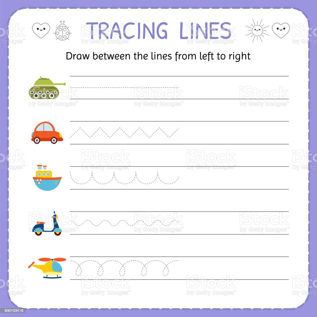 hight resolution of Draw Between The Lines From Left To Right Preschool Kindergarten Worksheet  For Practicing Motor Skills Basic Writing Stock Illustration - Download  Image Now - iStock