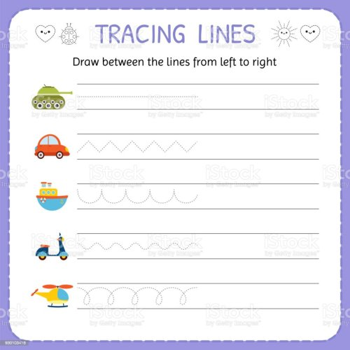small resolution of Draw Between The Lines From Left To Right Preschool Kindergarten Worksheet  For Practicing Motor Skills Basic Writing Stock Illustration - Download  Image Now - iStock