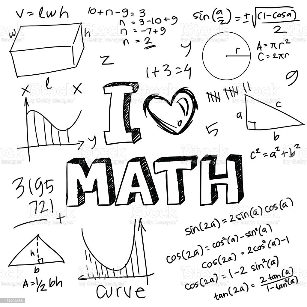 A Drawing Saying I Love Math With Pictures stock vector