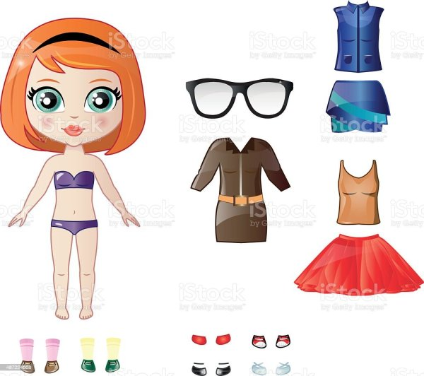 Dress Up Paper Doll stock vector art 487224668 iStock