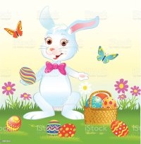 Easter Bunny With Eggs And Bow Tie Stock Vector Art & More ...