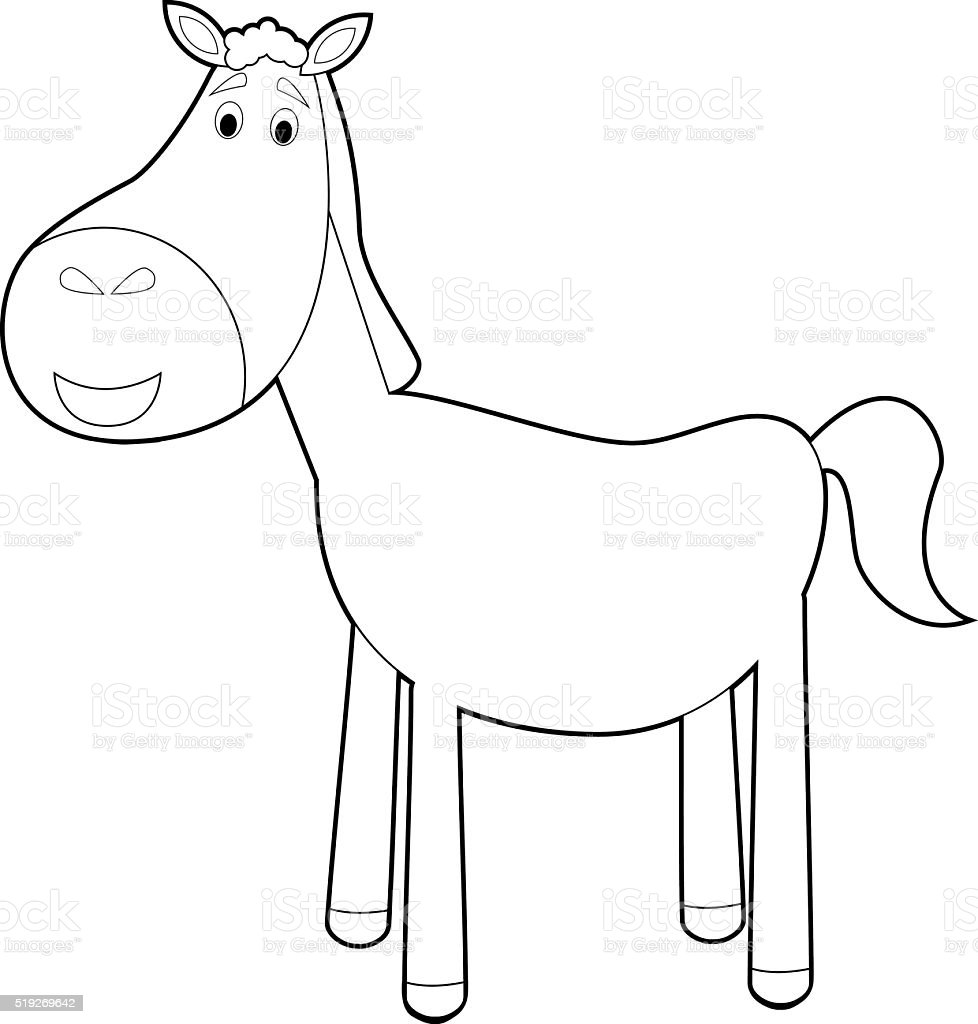 Easy Coloring Animals For Kids Horse Stock Vector Art