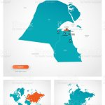 Editable Template Of Map Of Kuwait With Marks Kuwait On World Map And On Asia Map Stock Illustration Download Image Now Istock