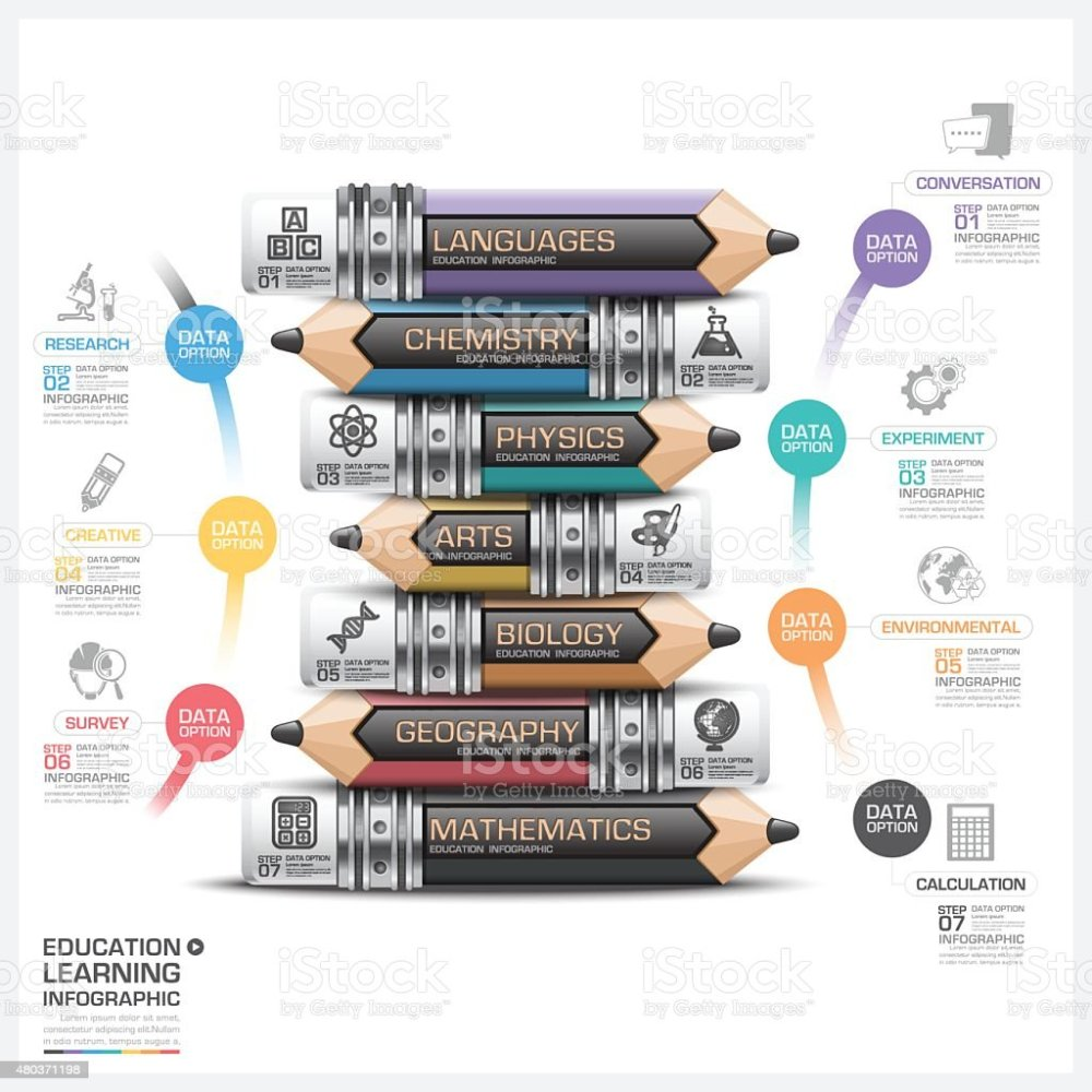 medium resolution of education and learning subject pencil step infographic diagram illustration
