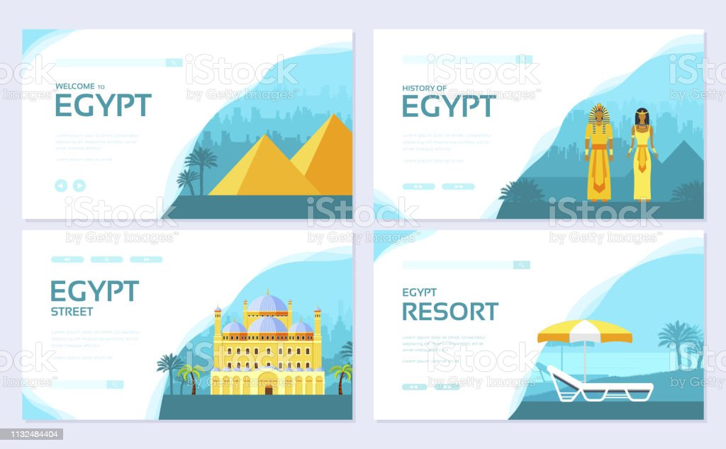 Egypt Country Ornament Travel Tour Concept Traditional Vacation Brochure Card Set Template Of Flyer Web Banner Ui Header Enter Site Layout Invitation Modern Slider Stock Illustration Download Image Now Istock