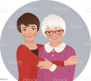 daughter mother adult elderly vector clip illustration grandmother hugging illustrations single grandma hug similar royalty