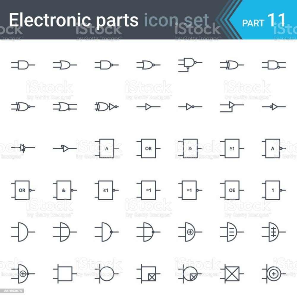 medium resolution of electric and electronic circuit diagram symbols set of digital electronics logic gate ansi system