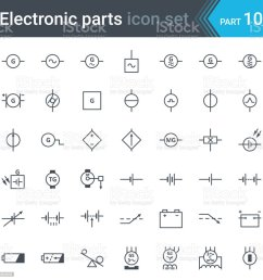 electric and electronic circuit diagram symbols set of generator batteries dc power supplies and three phase generator illustration  [ 1024 x 1024 Pixel ]
