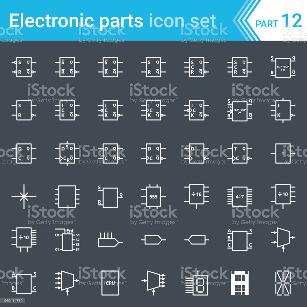 hight resolution of electric and electronic icons electric diagram symbols digital electronics flip flop