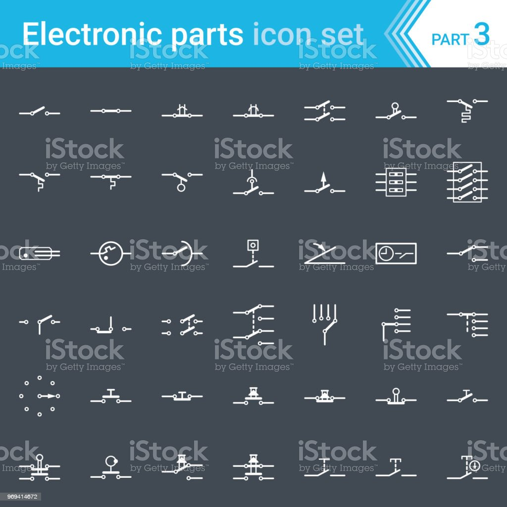 hight resolution of electric and electronic icons electric diagram symbols switches pushbuttons and circuit switches