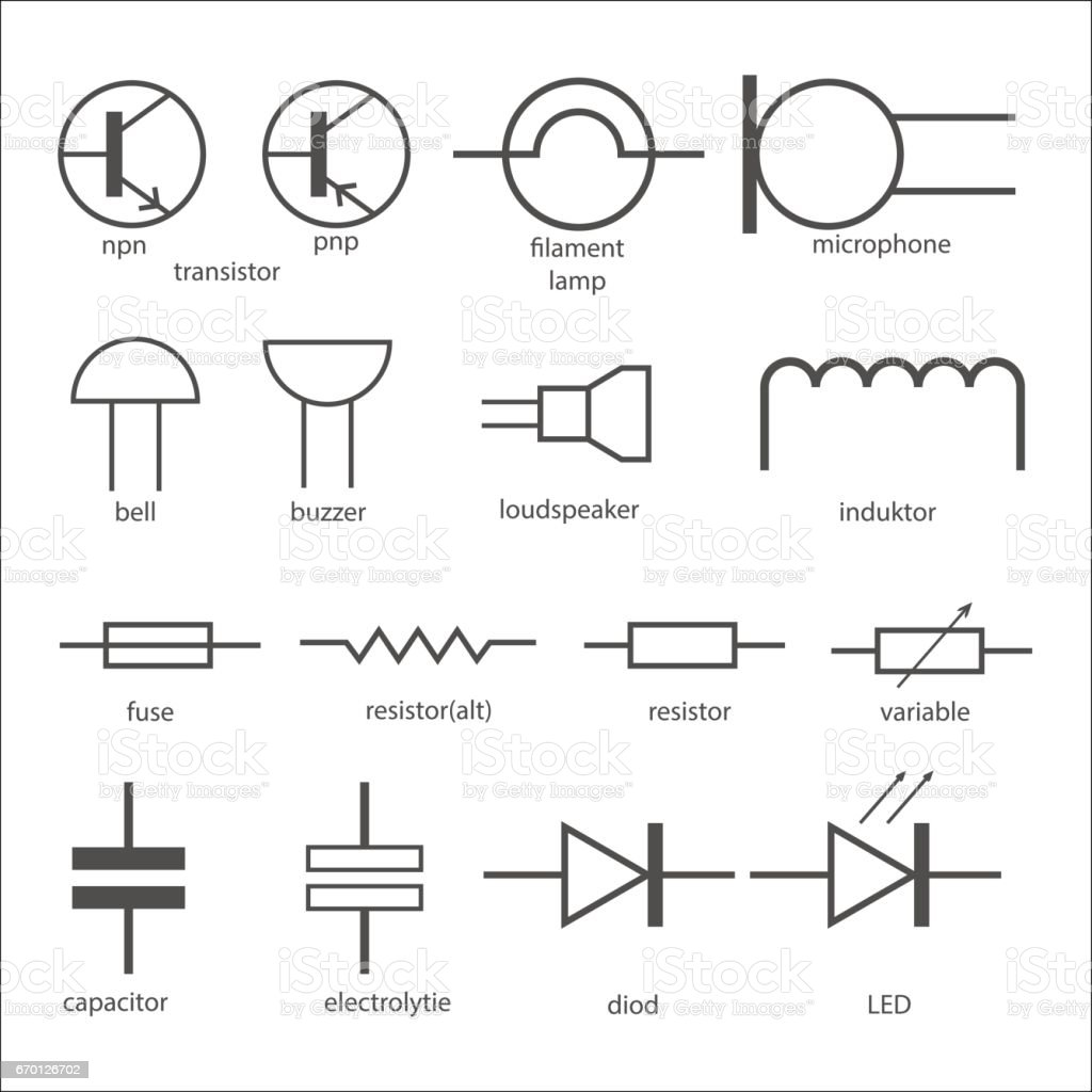 Electric Circuit Symbols Stock Vector Art & More Images of