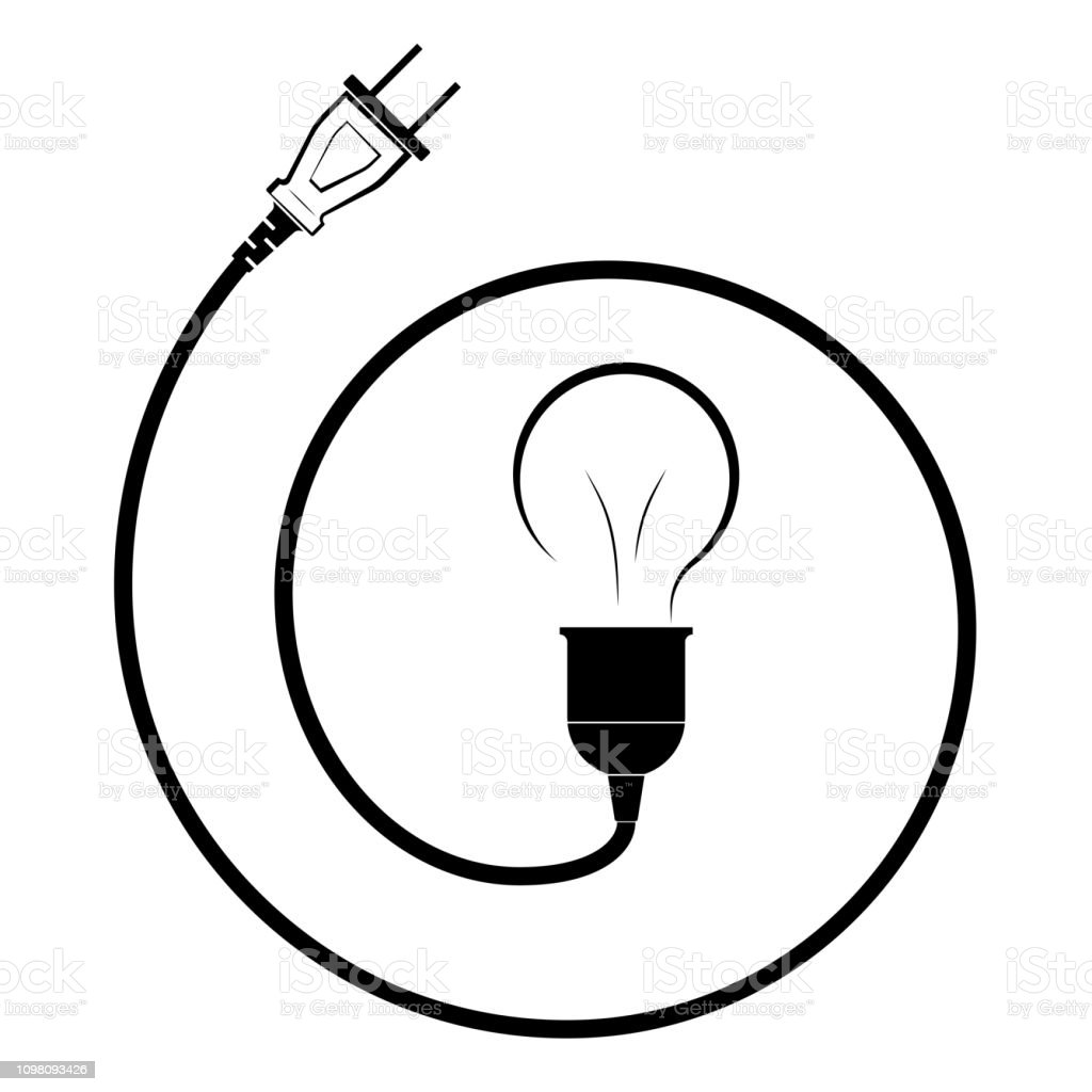 Electric Incandescent Lamp With Wire And Plug Logo For An