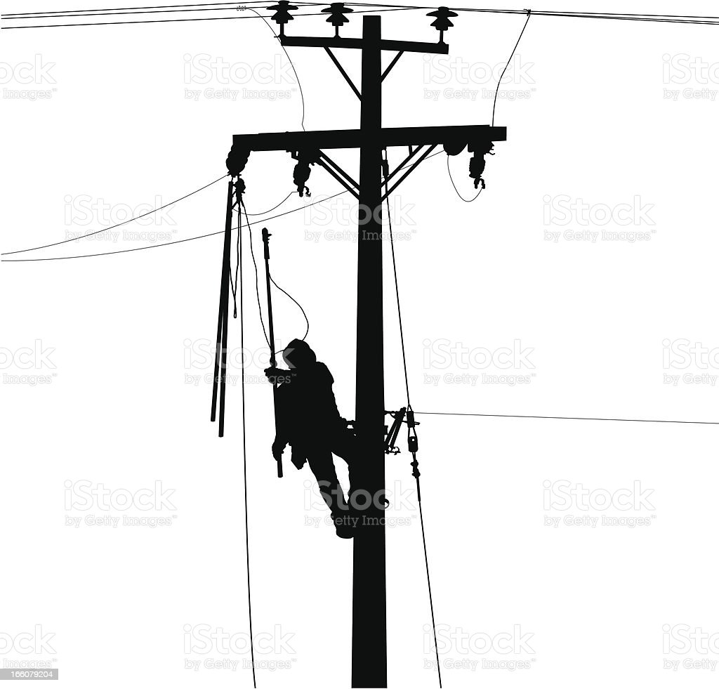 Electric Worker And Power Lines Silhouette Stock
