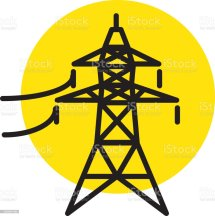 Electrical Pylon Power Sector Icon Stock Illustration