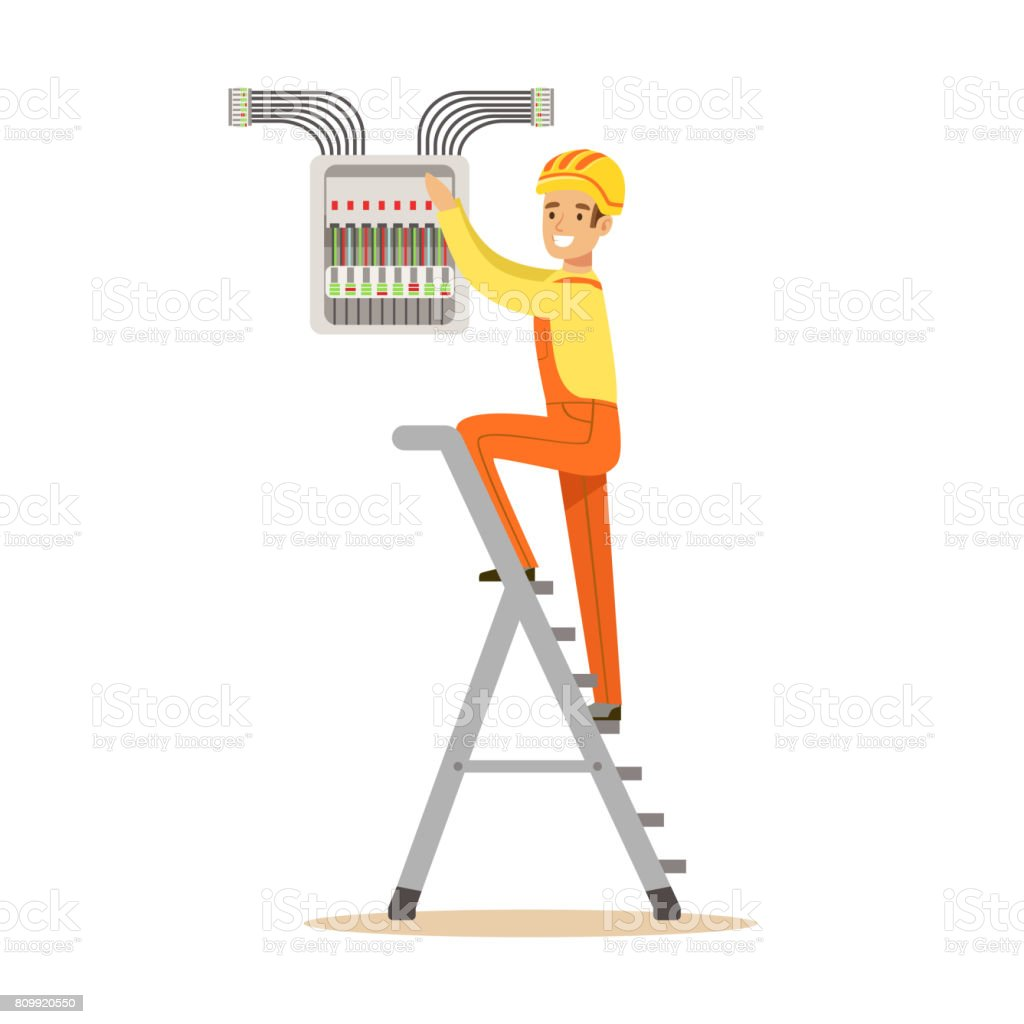 hight resolution of electrician standing on a stepladder and screwing equipment in fuse box electric man performing electrical