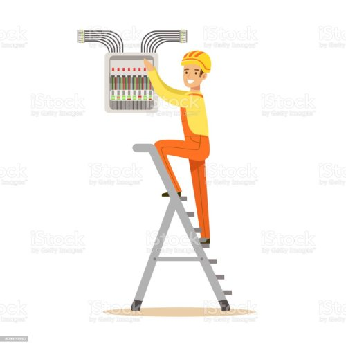 small resolution of electrician standing on a stepladder and screwing equipment in fuse box electric man performing electrical
