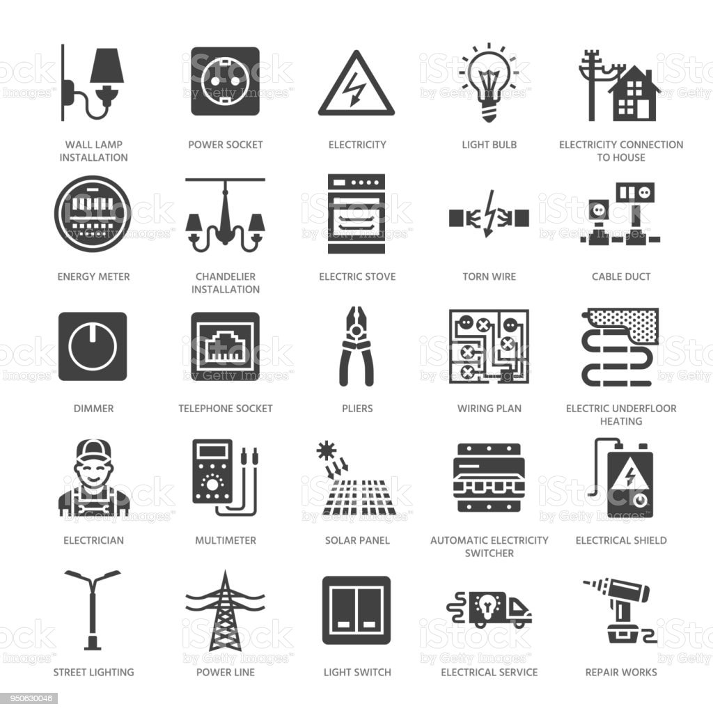 Electricity Engineering Vector Flat Glyph Icons Electrical