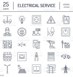 electricity engineering vector flat line icons electrical equipment power socket torn wire  [ 1024 x 1024 Pixel ]