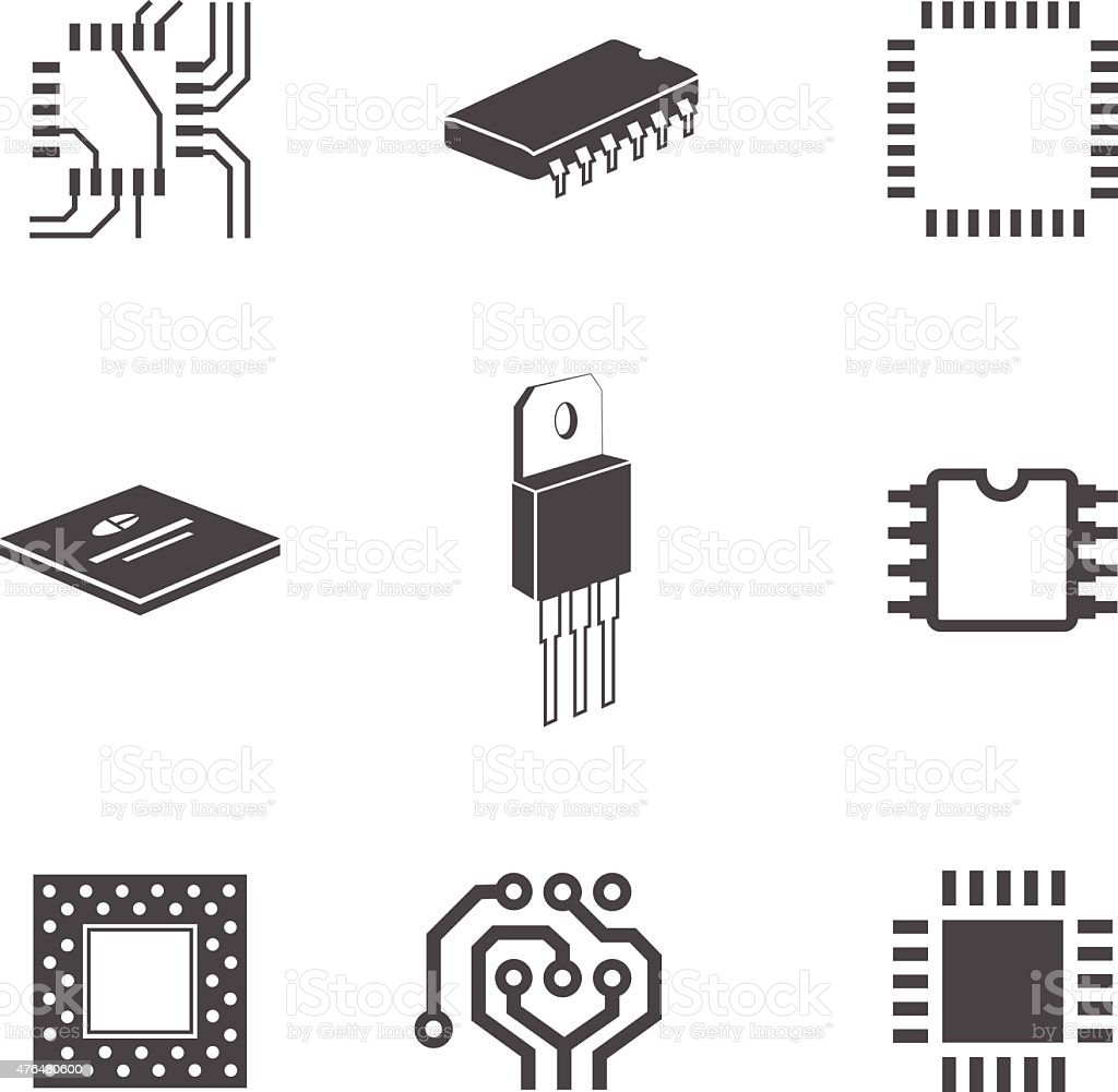 Electronic Chips And Circuits Stock Vector Art & More