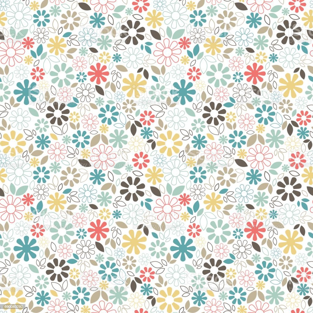 Elegant Floral Seamless Pattern With Simple Daisy Flowers And Leaves Small Multicolored Elements On White Background Stock Illustration - Download ...