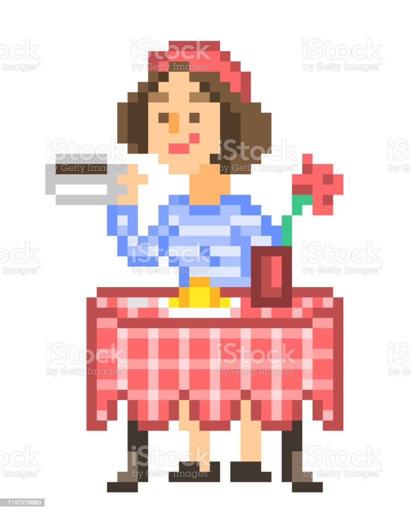elegant francais fille en beret rouge assis a une table de restaurant boire du cafe et manger croissant pixel art personnage feminin petitdejeuner matinal dans un cafe une femme qui prend une