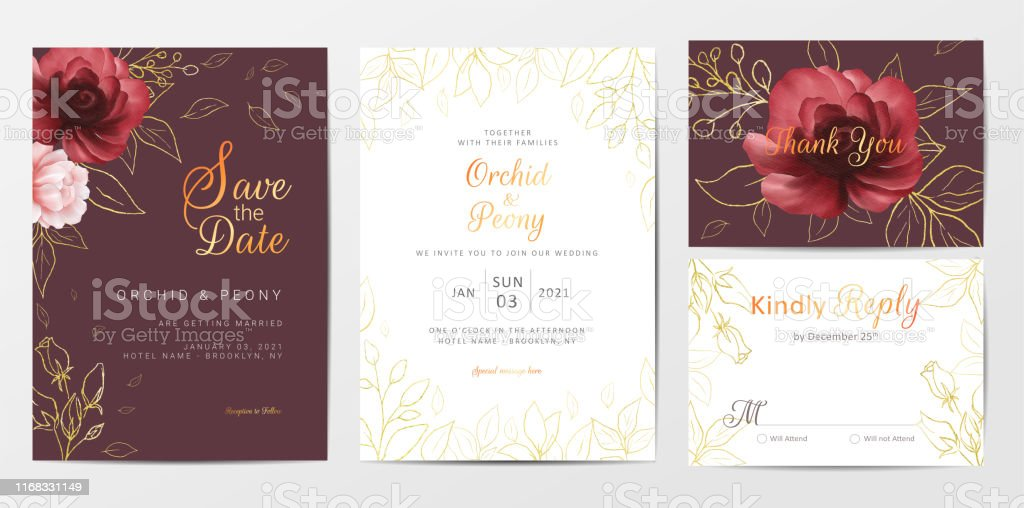 elegant wedding invitation cards template set of golden watercolor floral stock illustration download image now istock