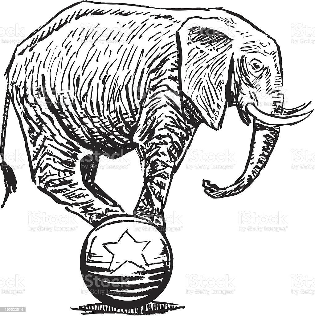 Elephant Balancing On Ball Circus Or Politics stock vector