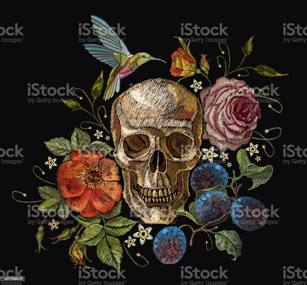 Ilustración De Cráneo De Bordado Y Rosas Uvas Colibrí Y Flores Arte