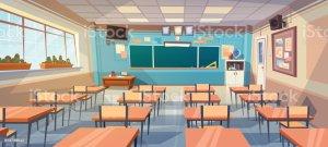 class empty desk board classroom background vector interior backgrounds illustration cartoon illustrations clip graphics teacher shutterstock
