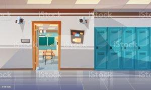 classroom background empty door corridor class open vector illustrations clip hall lockers vectors